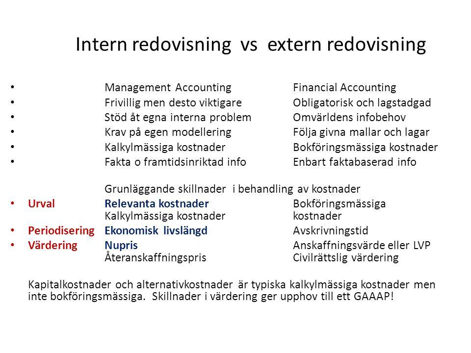 Intern redovisning vs extern redovisning Management AccountingFinancial Accounting Frivillig men desto viktigareObligatorisk och lagstadgad Stöd åt eg