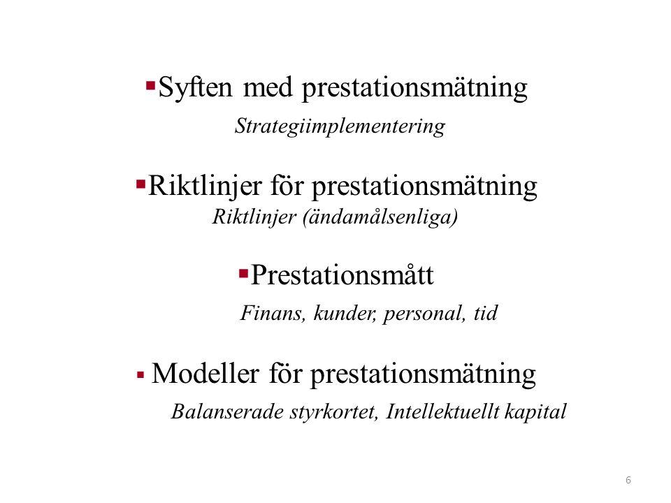 6  Syften med prestationsmätning Strategiimplementering  Riktlinjer för prestationsmätning Riktlinjer (ändamålsenliga)  Prestationsmått Finans, kun