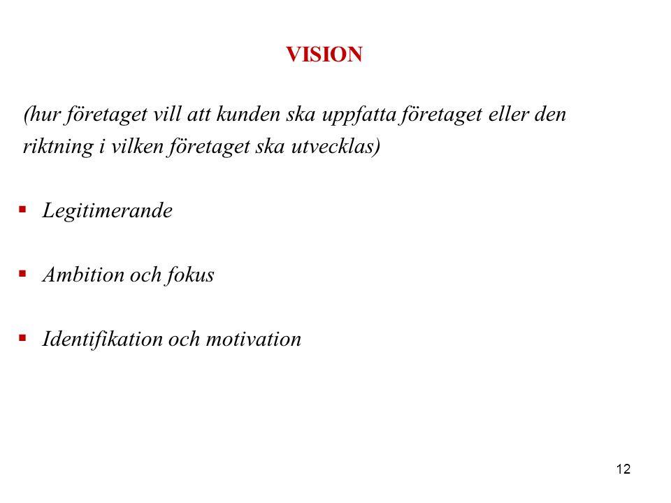 VISION (hur företaget vill att kunden ska uppfatta företaget eller den riktning i vilken företaget ska utvecklas)  Legitimerande  Ambition och fokus