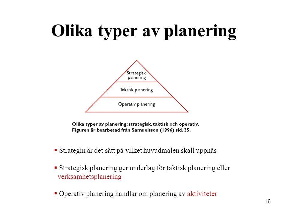16 Olika typer av planering  Strategin är det sätt på vilket huvudmålen skall uppnås  Strategisk planering ger underlag för taktisk planering eller