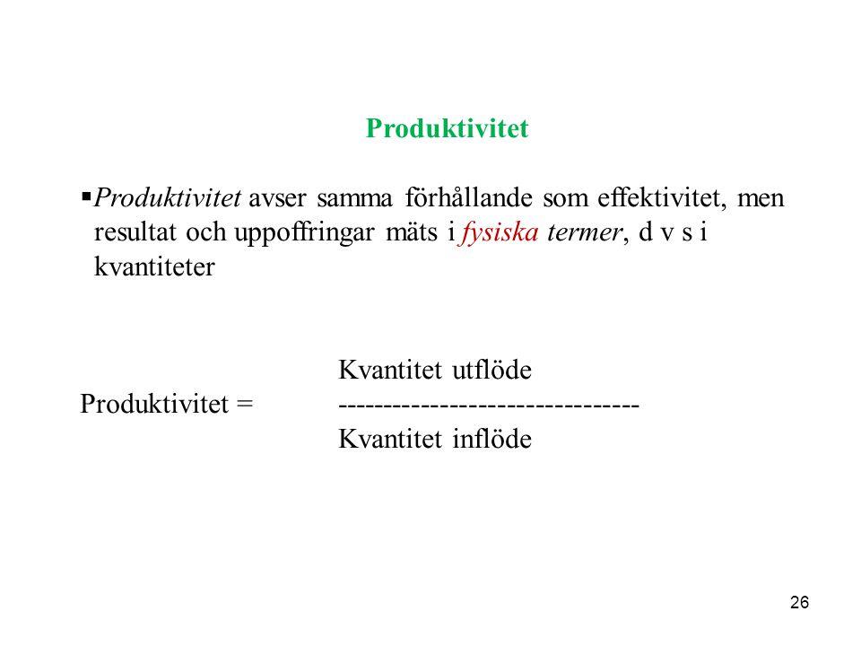 26 Produktivitet  Produktivitet avser samma förhållande som effektivitet, men resultat och uppoffringar mäts i fysiska termer, d v s i kvantiteter Kv