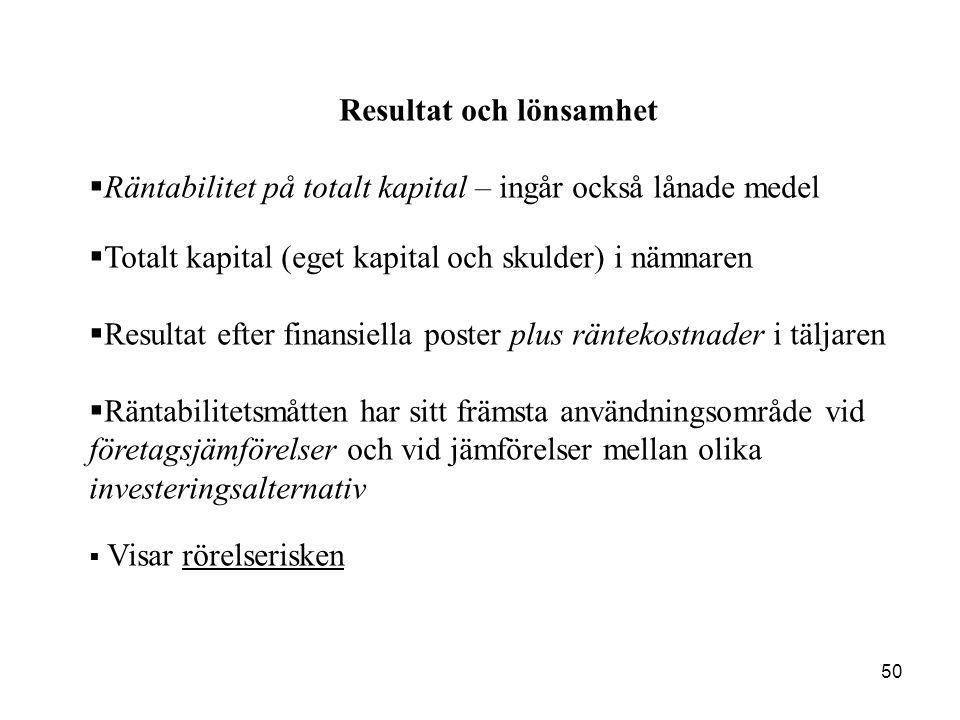 50 Resultat och lönsamhet  Räntabilitet på totalt kapital – ingår också lånade medel  Totalt kapital (eget kapital och skulder) i nämnaren  Resulta