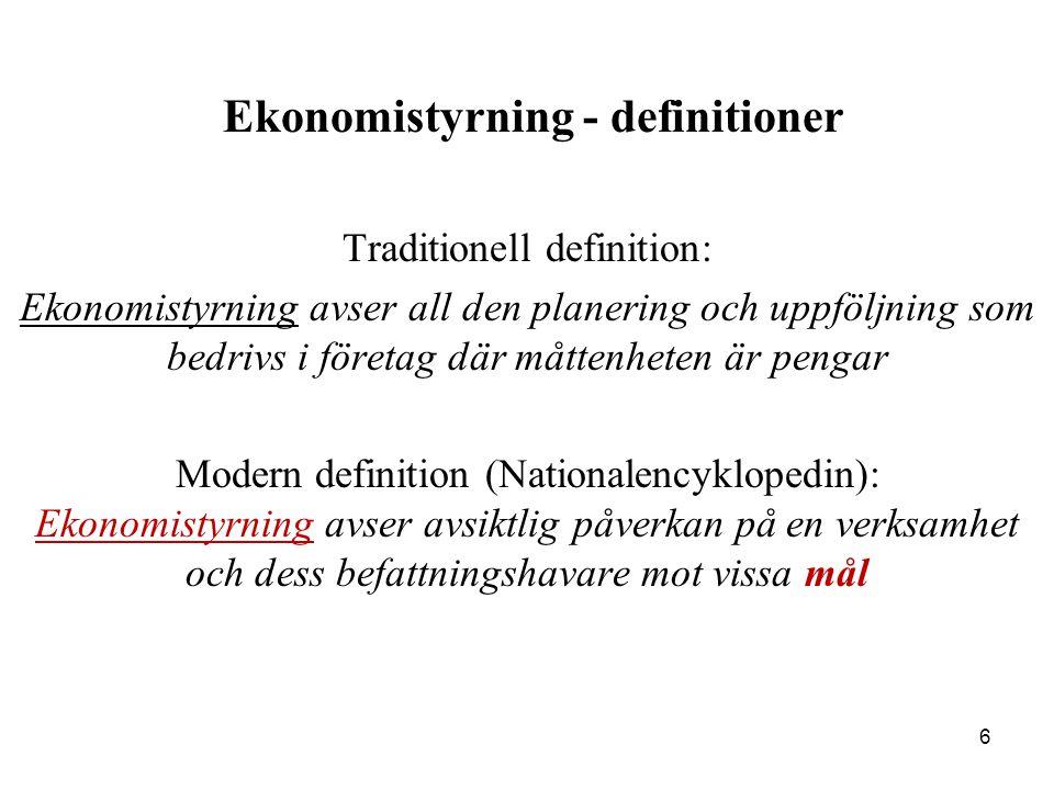 6 Ekonomistyrning - definitioner Traditionell definition: Ekonomistyrning avser all den planering och uppföljning som bedrivs i företag där måttenhete