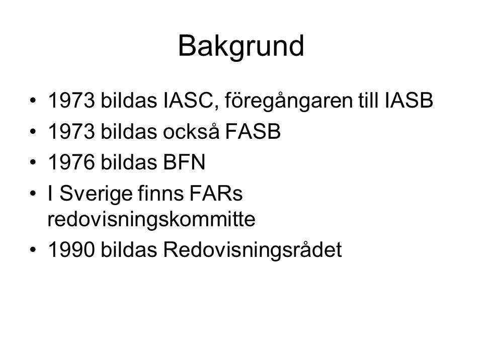 Bakgrund 1973 bildas IASC, föregångaren till IASB 1973 bildas också FASB 1976 bildas BFN I Sverige finns FARs redovisningskommitte 1990 bildas Redovis