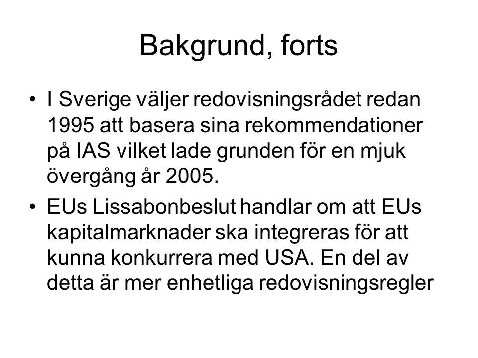 Bakgrund, forts I Sverige väljer redovisningsrådet redan 1995 att basera sina rekommendationer på IAS vilket lade grunden för en mjuk övergång år 2005