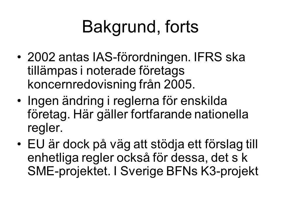 Bakgrund, forts 2002 antas IAS-förordningen. IFRS ska tillämpas i noterade företags koncernredovisning från 2005. Ingen ändring i reglerna för enskild