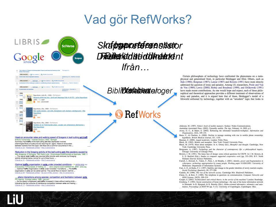 Vad gör RefWorks? Importerar Referenser direkt Ifrån… DatabaserBibliotekskataloger Webben Infogar referenser Direkt in i din text Skapar referenslisto