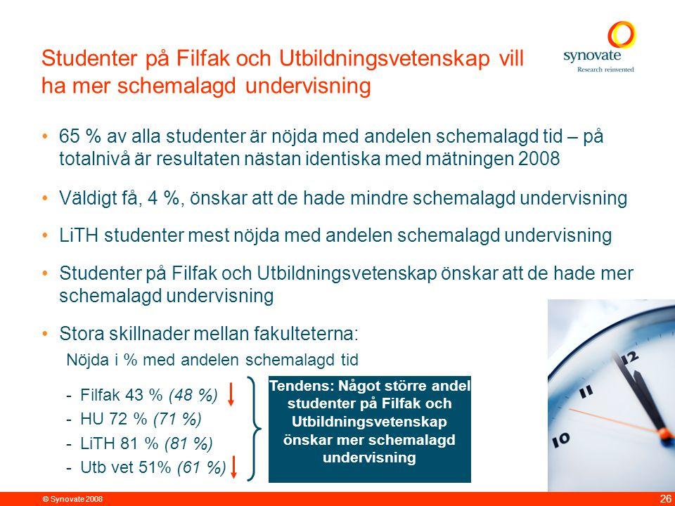 © Synovate 2008 26 Studenter på Filfak och Utbildningsvetenskap vill ha mer schemalagd undervisning 65 % av alla studenter är nöjda med andelen schema
