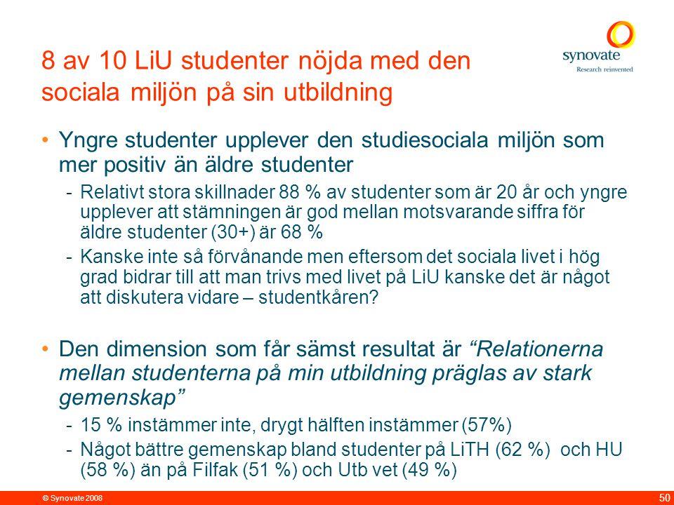 © Synovate 2008 50 8 av 10 LiU studenter nöjda med den sociala miljön på sin utbildning Yngre studenter upplever den studiesociala miljön som mer posi