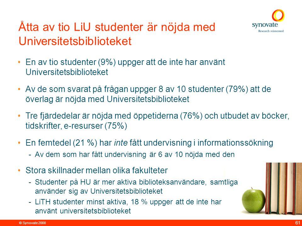 © Synovate 2008 61 Åtta av tio LiU studenter är nöjda med Universitetsbiblioteket En av tio studenter (9%) uppger att de inte har använt Universitetsb