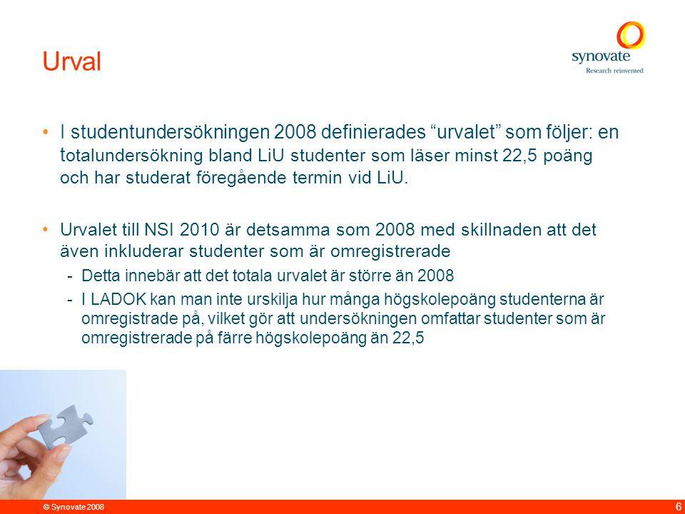 © Synovate 2008 6 Urval I studentundersökningen 2008 definierades urvalet som följer: en t otalundersökning bland LiU studenter som läser minst 22,5 poäng och har studerat föregående termin vid LiU.