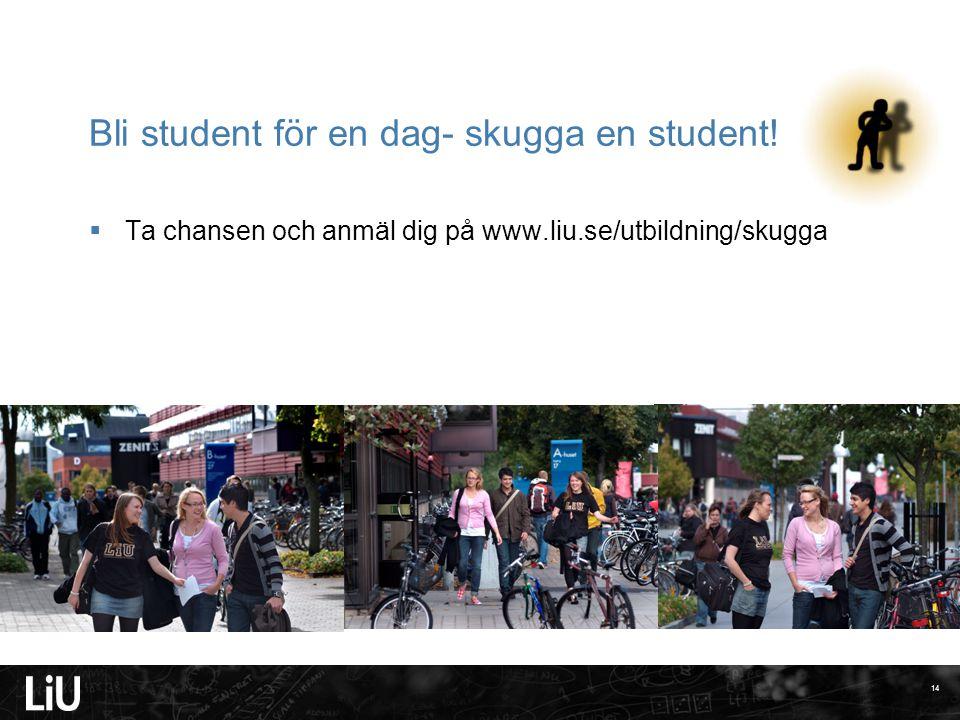14 Bli student för en dag- skugga en student!  Ta chansen och anmäl dig på www.liu.se/utbildning/skugga