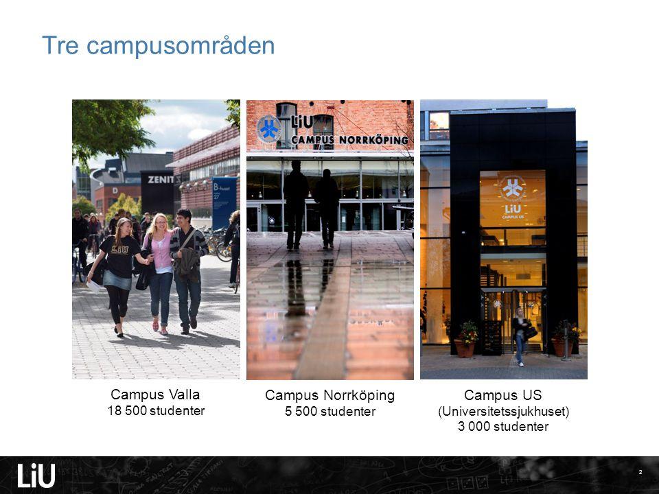 2 Campus Valla 18 500 studenter Campus Norrköping 5 500 studenter Campus US (Universitetssjukhuset) 3 000 studenter Tre campusområden