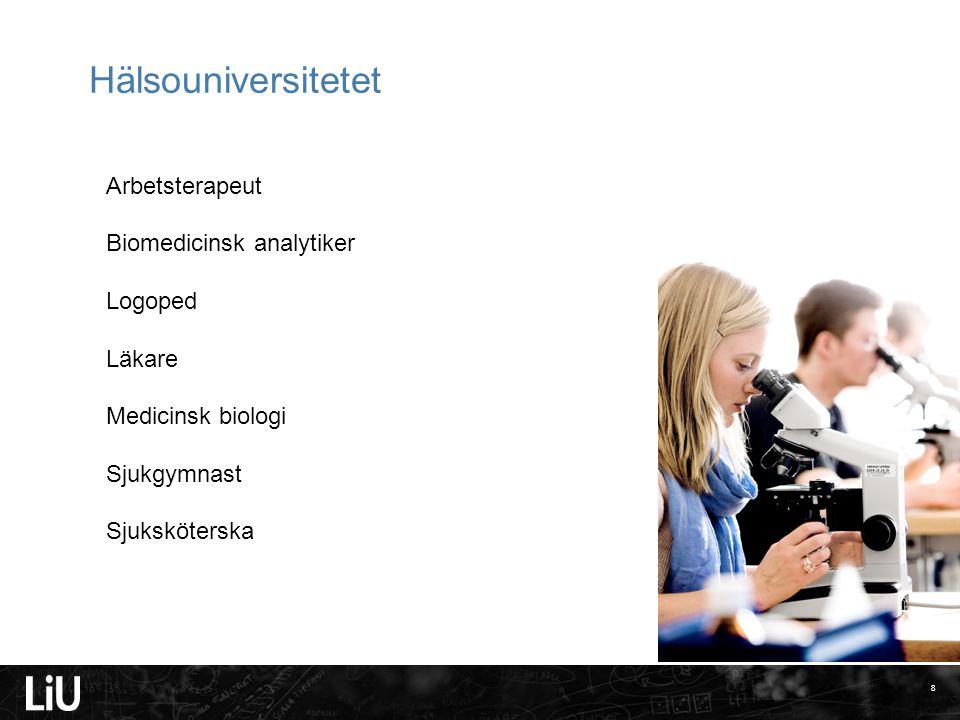 8 Hälsouniversitetet Arbetsterapeut Biomedicinsk analytiker Logoped Läkare Medicinsk biologi Sjukgymnast Sjuksköterska