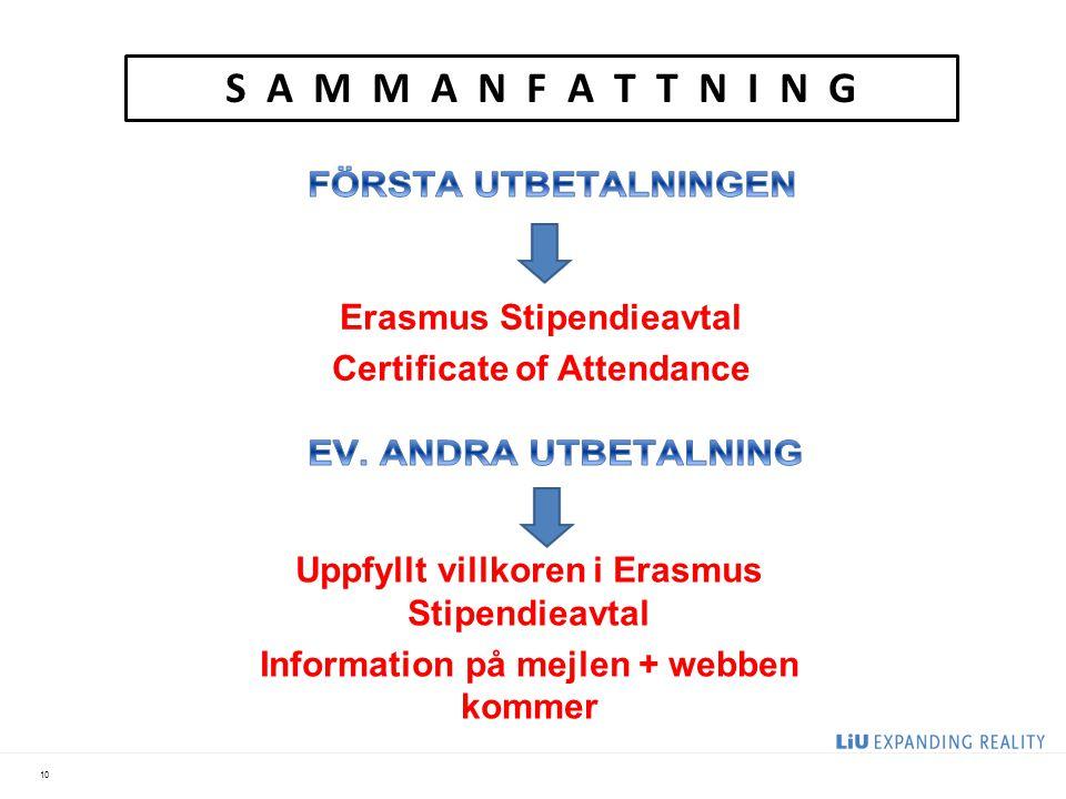 10 S A M M A N F A T T N I N G Uppfyllt villkoren i Erasmus Stipendieavtal Information på mejlen + webben kommer Erasmus Stipendieavtal Certificate of