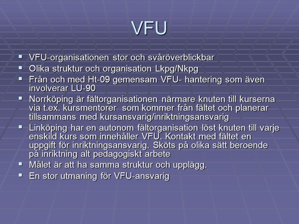 VFU  VFU-organisationen stor och svåröverblickbar  Olika struktur och organisation Lkpg/Nkpg  Från och med Ht-09 gemensam VFU- hantering som även involverar LU-90  Norrköping är fältorganisationen närmare knuten till kurserna via t.ex.