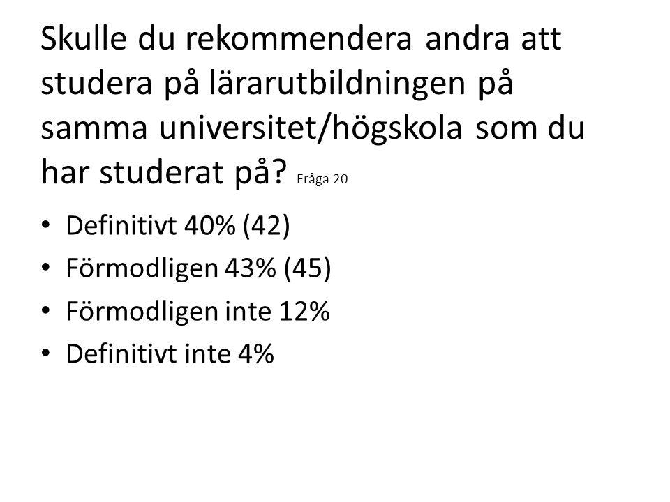 Skulle du rekommendera andra att studera på lärarutbildningen på samma universitet/högskola som du har studerat på? Fråga 20 Definitivt 40% (42) Förmo
