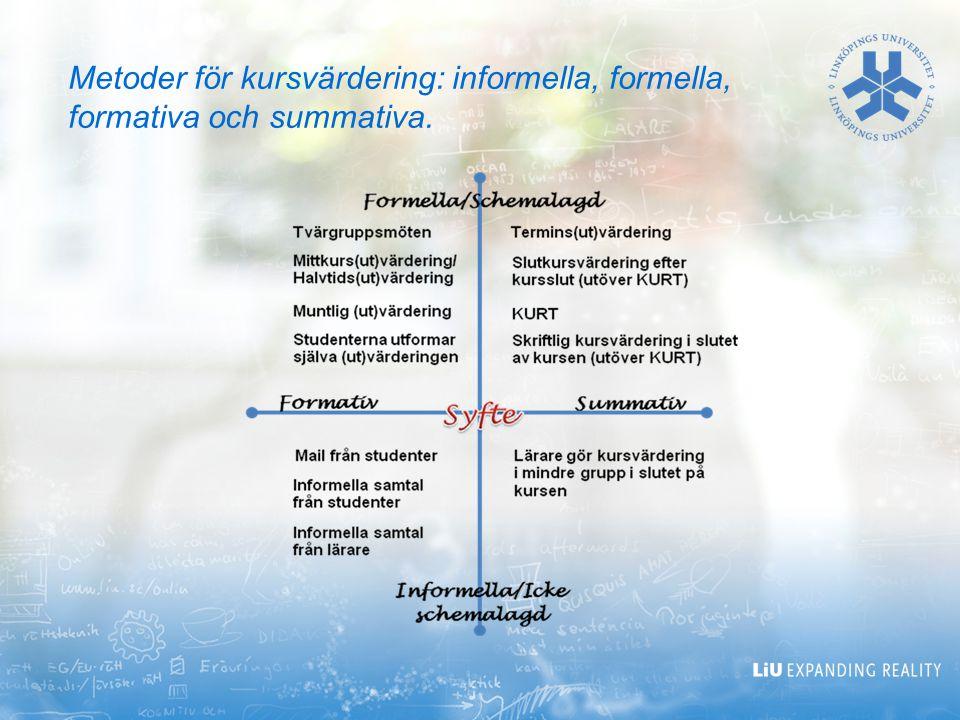 Metoder för kursvärdering: informella, formella, formativa och summativa.