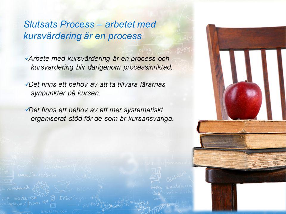 Slutsats Process – arbetet med kursvärdering är en process Arbete med kursvärdering är en process och kursvärdering blir därigenom processinriktad. De