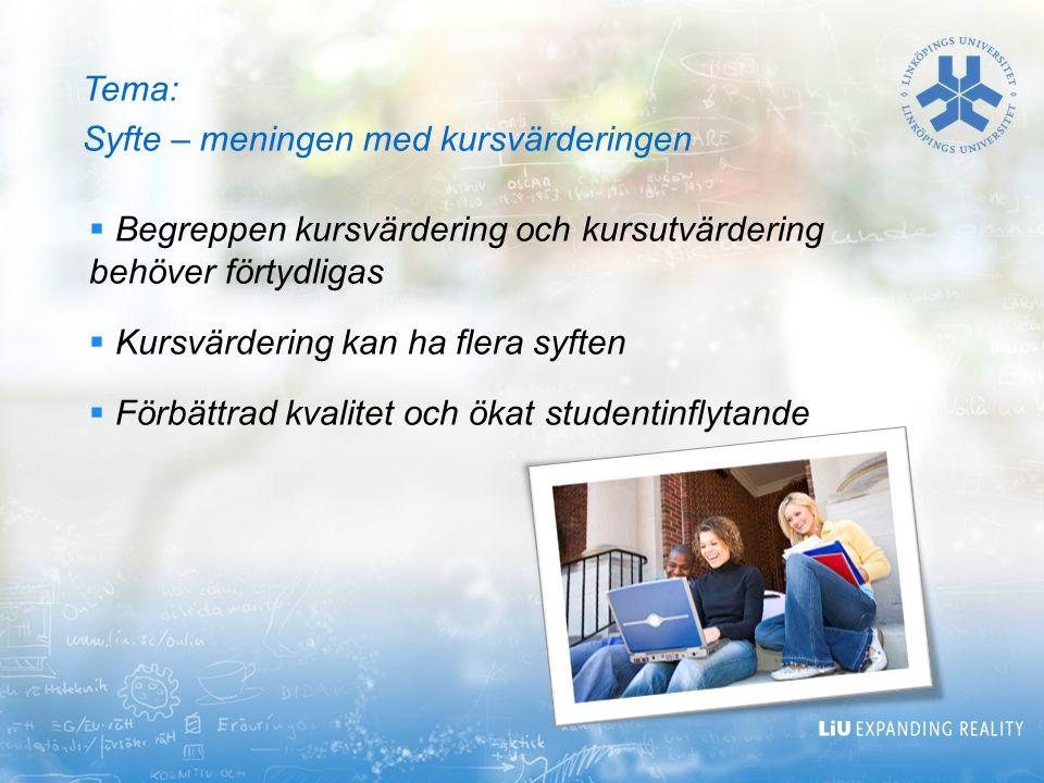 Tema: Syfte – meningen med kursvärderingen  Begreppen kursvärdering och kursutvärdering behöver förtydligas  Kursvärdering kan ha flera syften  För