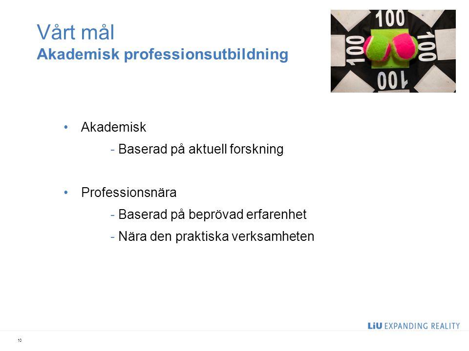 Vårt mål Akademisk professionsutbildning Akademisk - Baserad på aktuell forskning Professionsnära - Baserad på beprövad erfarenhet - Nära den praktisk