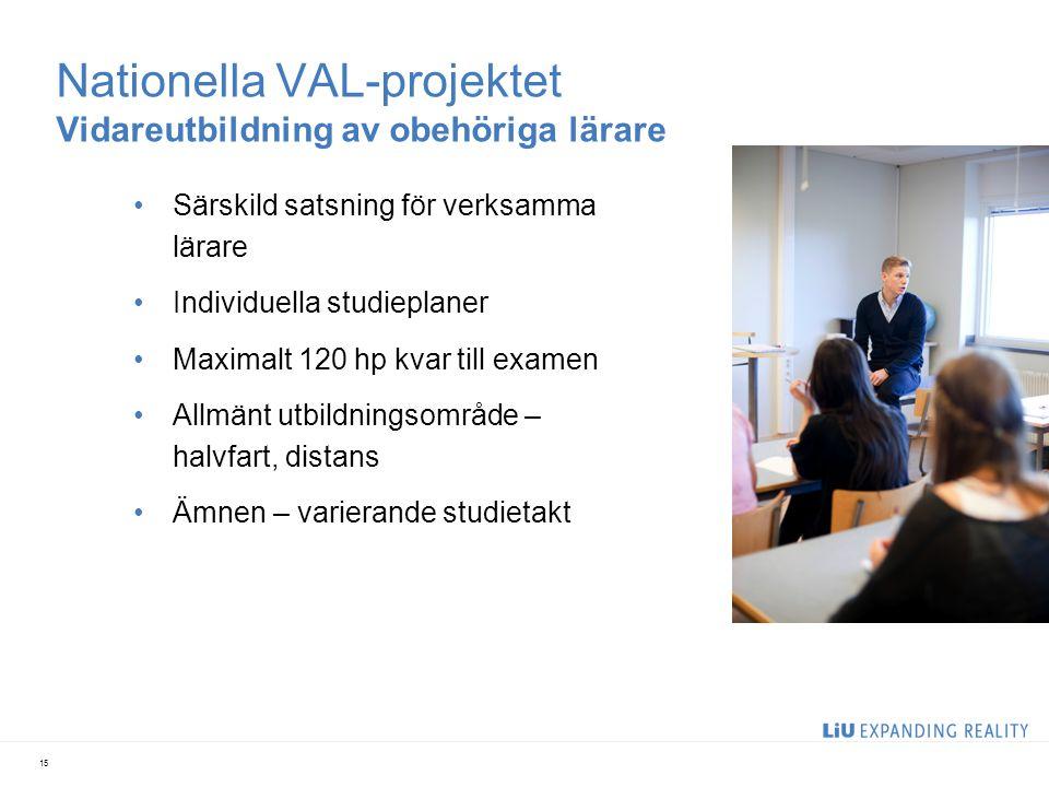 Nationella VAL-projektet Vidareutbildning av obehöriga lärare Särskild satsning för verksamma lärare Individuella studieplaner Maximalt 120 hp kvar ti