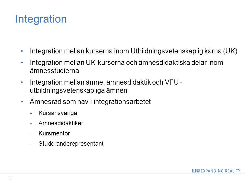 Integration Integration mellan kurserna inom Utbildningsvetenskaplig kärna (UK) Integration mellan UK-kurserna och ämnesdidaktiska delar inom ämnesstu