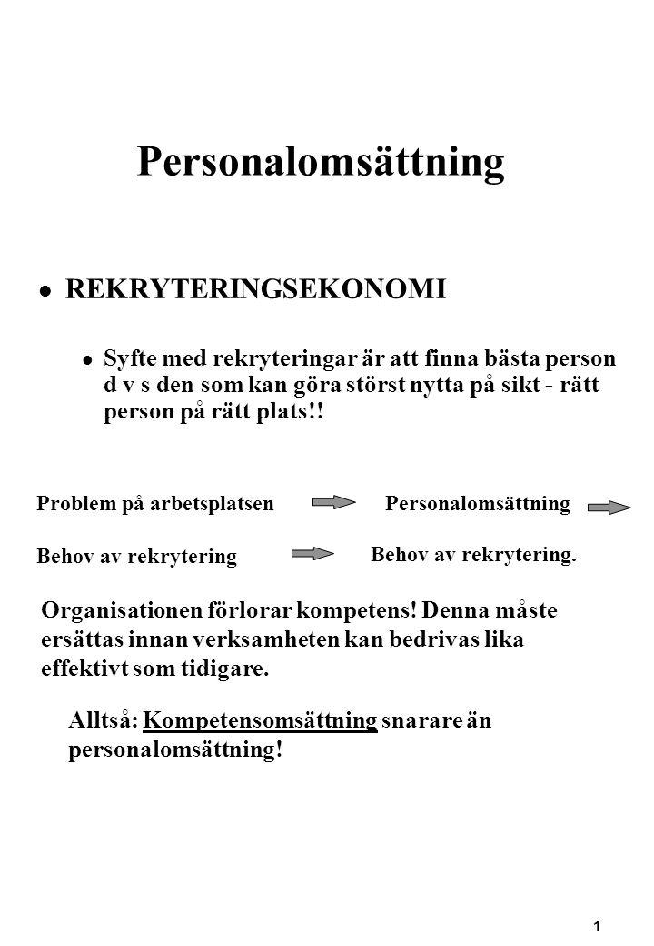 1 Personalomsättning REKRYTERINGSEKONOMI Syfte med rekryteringar är att finna bästa person d v s den som kan göra störst nytta på sikt - rätt person p