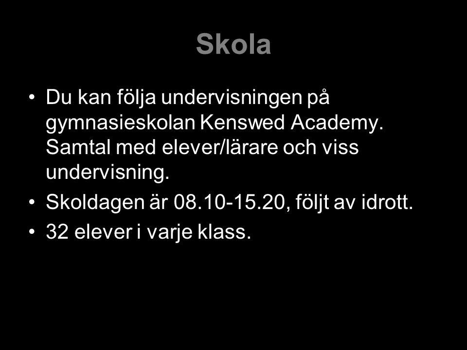 Skola Du kan följa undervisningen på gymnasieskolan Kenswed Academy.