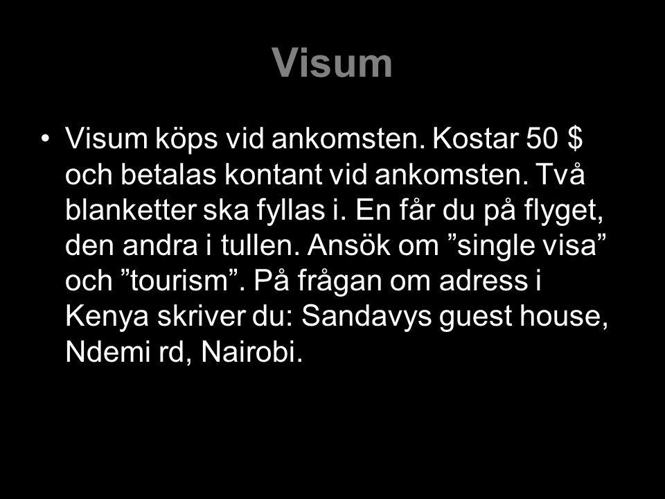 Visum Visum köps vid ankomsten.Kostar 50 $ och betalas kontant vid ankomsten.