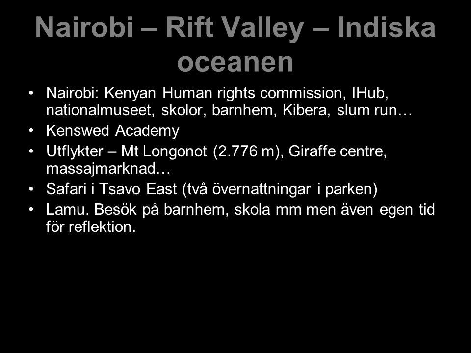 Nairobi – Rift Valley – Indiska oceanen Nairobi: Kenyan Human rights commission, IHub, nationalmuseet, skolor, barnhem, Kibera, slum run… Kenswed Academy Utflykter – Mt Longonot (2.776 m), Giraffe centre, massajmarknad… Safari i Tsavo East (två övernattningar i parken) Lamu.