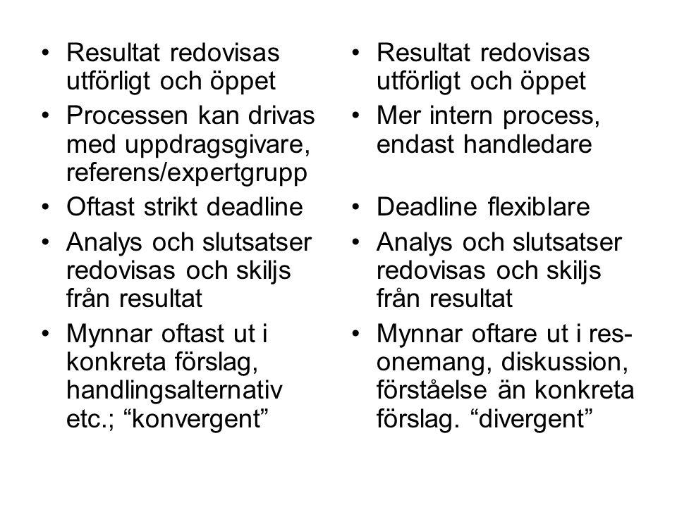 Resultat redovisas utförligt och öppet Processen kan drivas med uppdragsgivare, referens/expertgrupp Oftast strikt deadline Analys och slutsatser redo