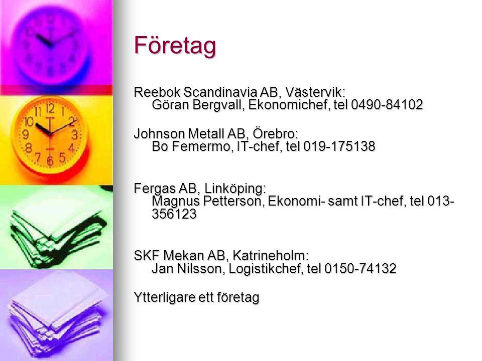 Företag Reebok Scandinavia AB, Västervik: Göran Bergvall, Ekonomichef, tel 0490-84102 Johnson Metall AB, Örebro: Bo Femermo, IT-chef, tel 019-175138 Fergas AB, Linköping: Magnus Petterson, Ekonomi- samt IT-chef, tel 013- 356123 SKF Mekan AB, Katrineholm: Jan Nilsson, Logistikchef, tel 0150-74132 Ytterligare ett företag