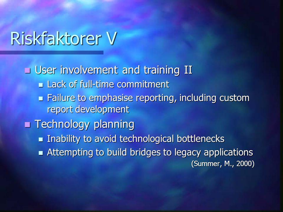 Riskfaktorer V User involvement and training II User involvement and training II Lack of full-time commitment Lack of full-time commitment Failure to