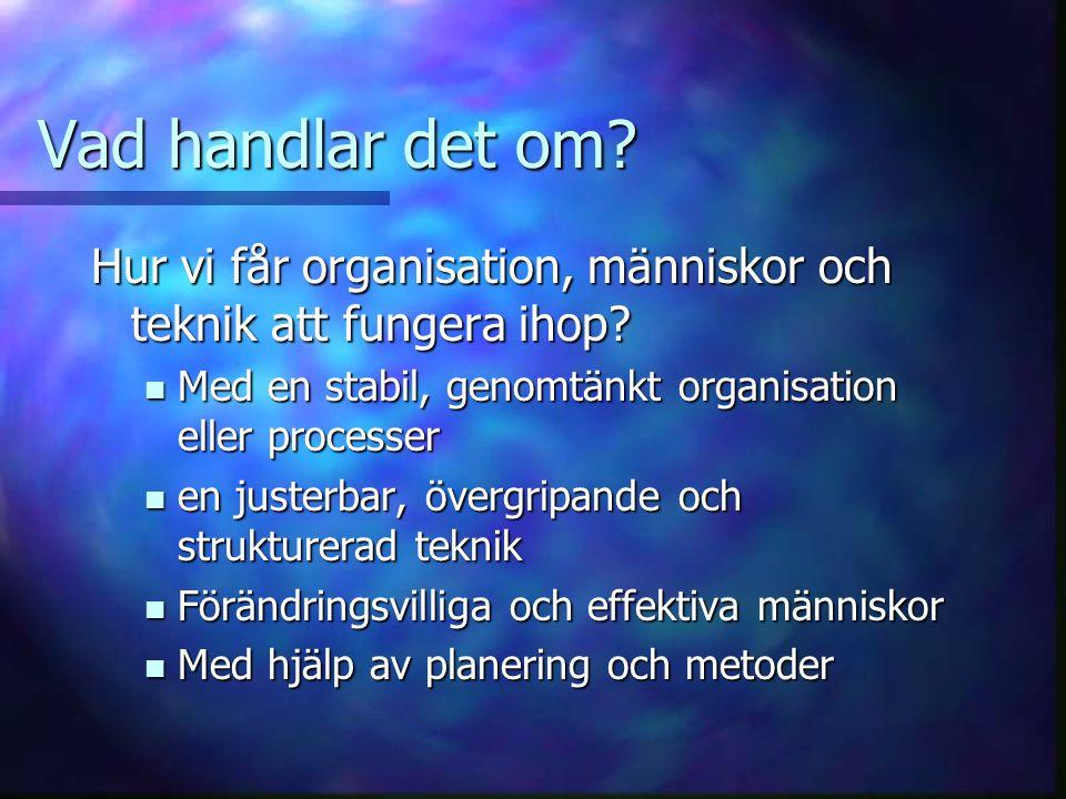 Vad handlar det om? Hur vi får organisation, människor och teknik att fungera ihop? Med en stabil, genomtänkt organisation eller processer Med en stab