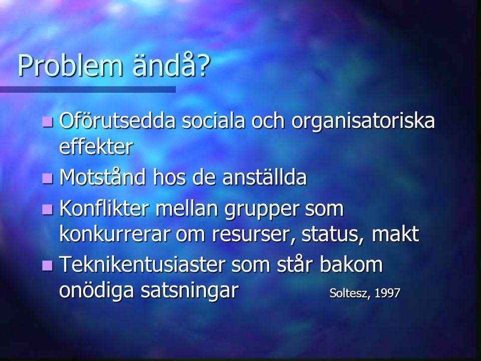 Problem ändå? Oförutsedda sociala och organisatoriska effekter Oförutsedda sociala och organisatoriska effekter Motstånd hos de anställda Motstånd hos