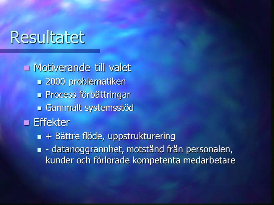 Resultatet Motiverande till valet Motiverande till valet 2000 problematiken 2000 problematiken Process förbättringar Process förbättringar Gammalt sys