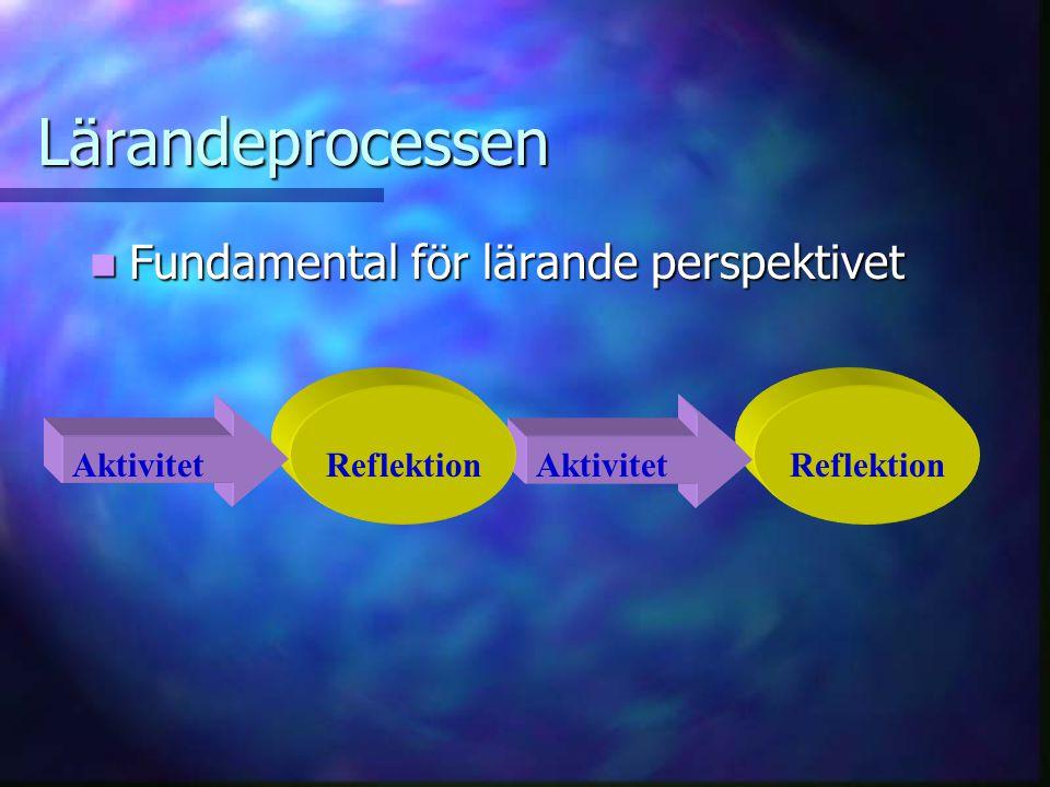 ReflektionAktivitet Lärandeprocessen Fundamental för lärande perspektivet Fundamental för lärande perspektivet Reflektion