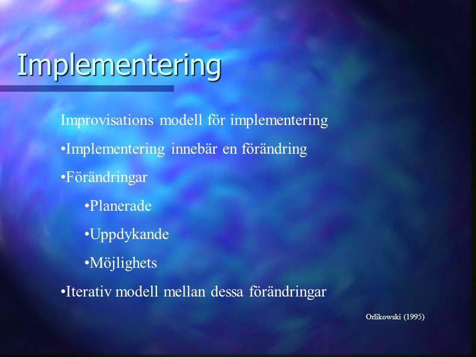 Implementering Orlikowski (1995) Improvisations modell för implementering Implementering innebär en förändring Förändringar Planerade Uppdykande Möjlighets Iterativ modell mellan dessa förändringar