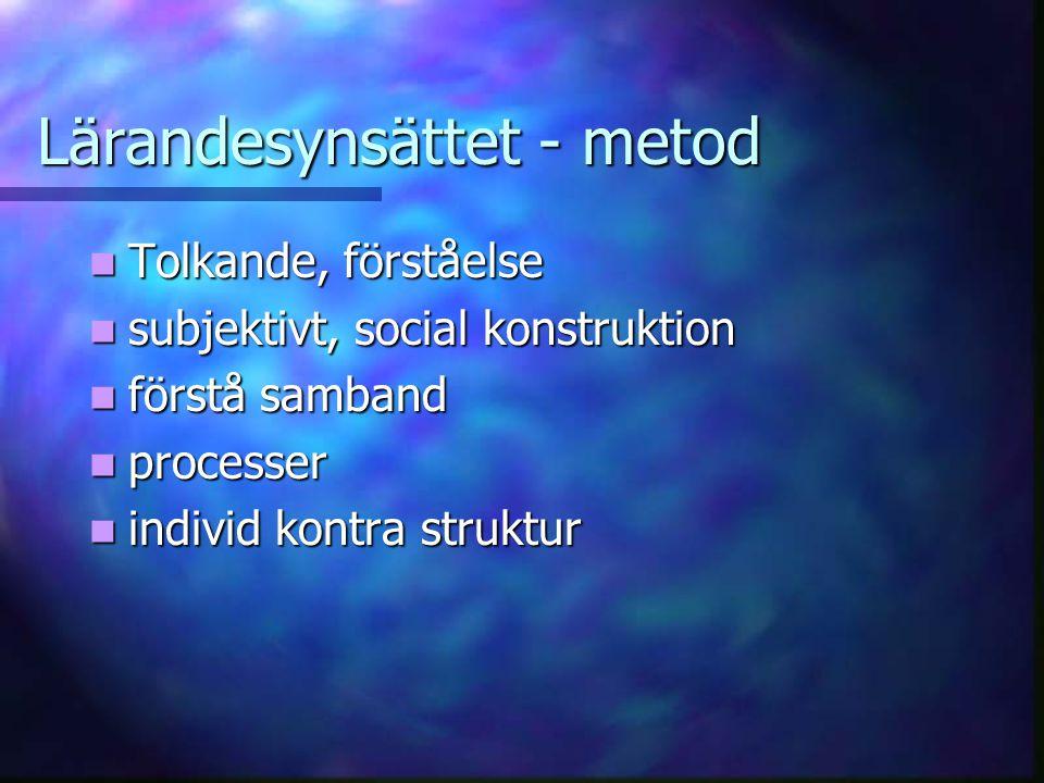 Lärandesynsättet - metod Tolkande, förståelse Tolkande, förståelse subjektivt, social konstruktion subjektivt, social konstruktion förstå samband förstå samband processer processer individ kontra struktur individ kontra struktur