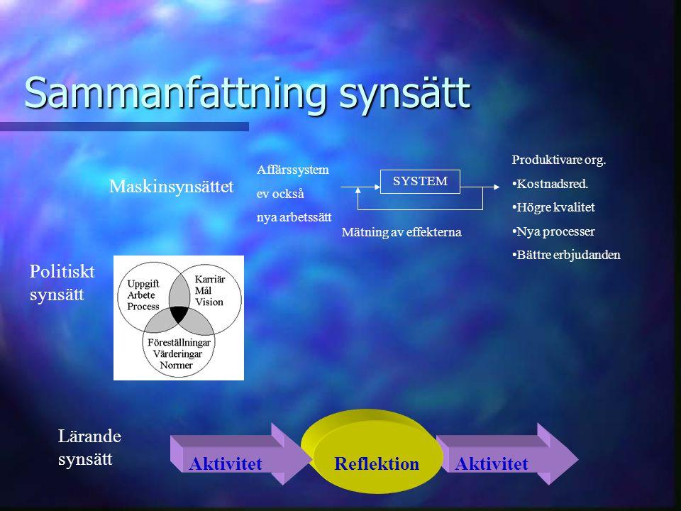 Sammanfattning synsätt SYSTEM Affärssystem ev också nya arbetssätt Produktivare org. Kostnadsred. Högre kvalitet Nya processer Bättre erbjudanden Mätn