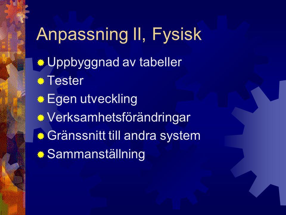 Anpassning II, Fysisk  Uppbyggnad av tabeller  Tester  Egen utveckling  Verksamhetsförändringar  Gränssnitt till andra system  Sammanställning