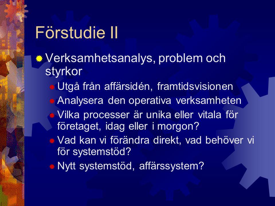 Förstudie II  Verksamhetsanalys, problem och styrkor  Utgå från affärsidén, framtidsvisionen  Analysera den operativa verksamheten  Vilka processe