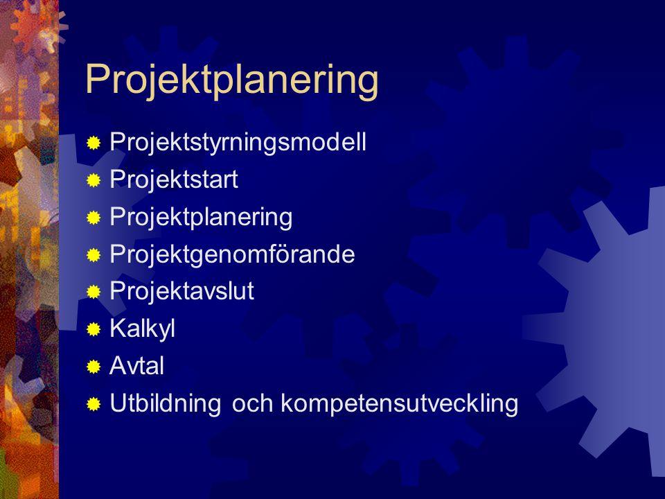 Projektplanering  Projektstyrningsmodell  Projektstart  Projektplanering  Projektgenomförande  Projektavslut  Kalkyl  Avtal  Utbildning och ko
