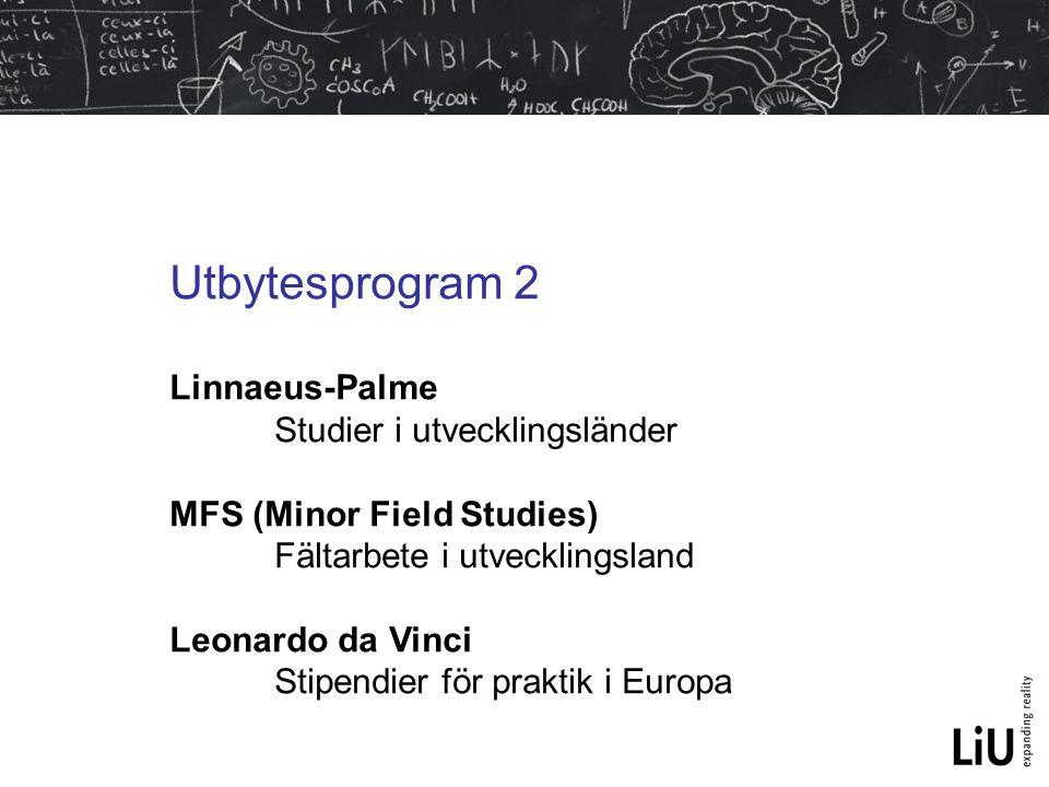 Utbytesprogram 2 Linnaeus-Palme Studier i utvecklingsländer MFS (Minor Field Studies) Fältarbete i utvecklingsland Leonardo da Vinci Stipendier för pr