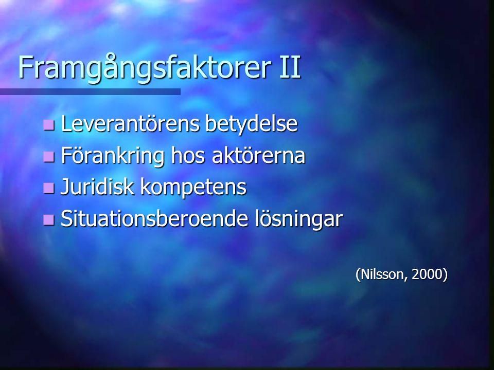 Framgångsfaktorer II Leverantörens betydelse Leverantörens betydelse Förankring hos aktörerna Förankring hos aktörerna Juridisk kompetens Juridisk kompetens Situationsberoende lösningar Situationsberoende lösningar (Nilsson, 2000) (Nilsson, 2000)