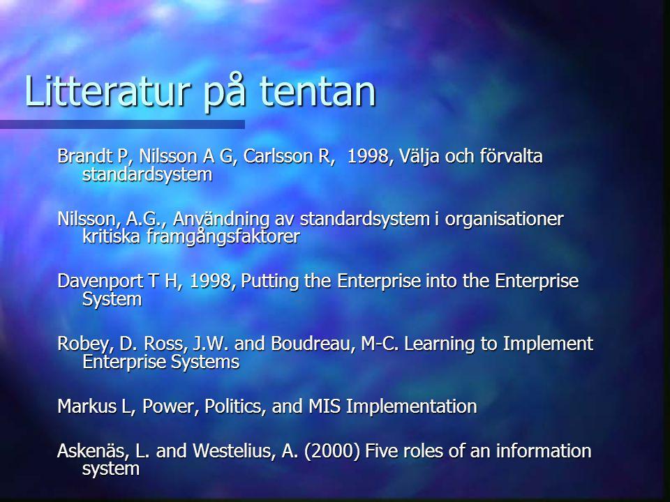 Litteratur på tentan Brandt P, Nilsson A G, Carlsson R, 1998, Välja och förvalta standardsystem Nilsson, A.G., Användning av standardsystem i organisa