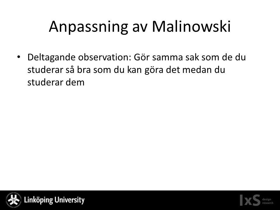 Anpassning av Malinowski Deltagande observation: Gör samma sak som de du studerar så bra som du kan göra det medan du studerar dem