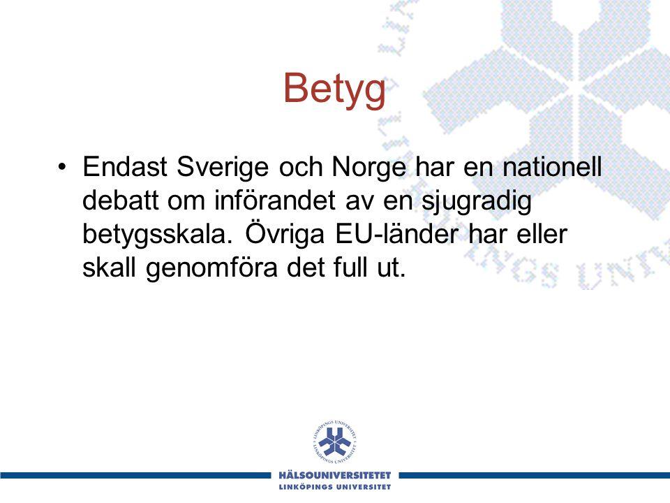 Betyg Endast Sverige och Norge har en nationell debatt om införandet av en sjugradig betygsskala. Övriga EU-länder har eller skall genomföra det full