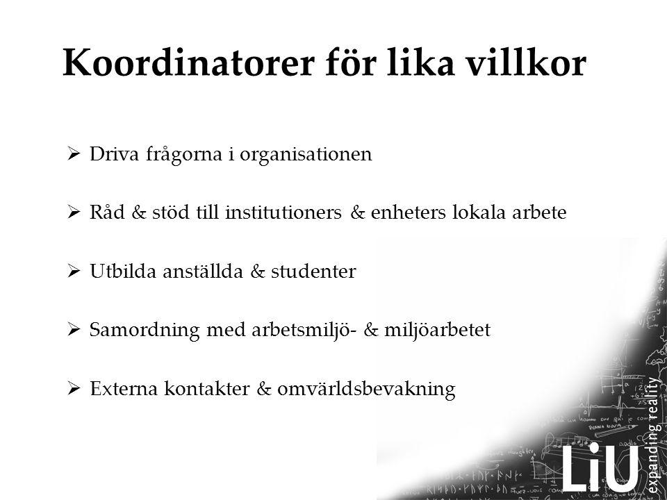 Koordinatorer för lika villkor  Driva frågorna i organisationen  Råd & stöd till institutioners & enheters lokala arbete  Utbilda anställda & studenter  Samordning med arbetsmiljö- & miljöarbetet  Externa kontakter & omvärldsbevakning